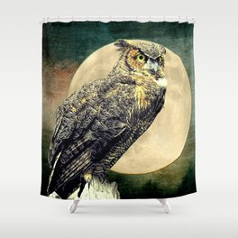 Rustic Great Horned Owl Bird Moon A364 Shower Curtain