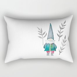 Winter Gnome - Silver Leaves Rectangular Pillow