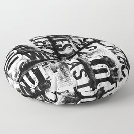 East South North West Black White Grunge Typography Floor Pillow