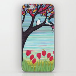 tree swallows in the stained glass tree with tulips and frogs iPhone Skin