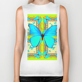 Turquoise Satin Butterflies On Lime & Cream Colors Biker Tank