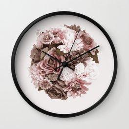 gold flower bouquet silk flowers Wall Clock