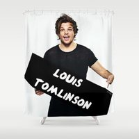 louis tomlinson Shower Curtains featuring Louis Tomlinson by girllarriealmighty