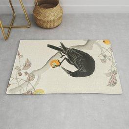 Crow eating persimmon Fruit - Vintage Japanese Woodblock Print Art Rug