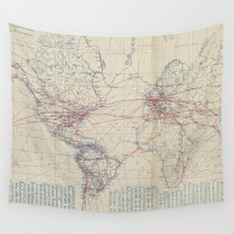 Vintage World Air Travel Map (1919) Wall Tapestry