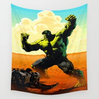 ironman Wall Tapestries featuring Hulk V Ironman by Don Kuing