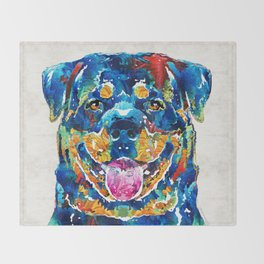 Colorful Rottie Art - Rottweiler by Sharon Cummings Throw Blanket