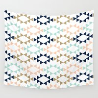 peru Wall Tapestries featuring Aztec - Geometric tribal pattern in navy, gold glitter, pink, and blush by CharlotteWinter