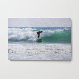 Surfer Oil Paint Effect Metal Print