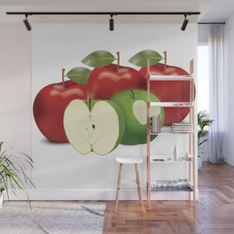 Apple with heart and a leaf in style Wall Mural