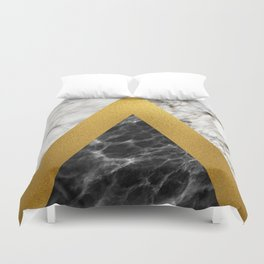 Gold foil white black marble #2 Duvet Cover