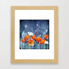 Summer night- Shadow of a Poppy meadow- Flowers Framed Art Print