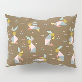Tangram Bunnies M+M Nutmeg by Friztin Pillow Sham