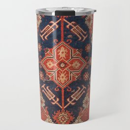 Southwest Tuscan Shapes II // 18th Century Aged Dark Blue Redish Yellow Colorful Ornate Rug Pattern Travel Mug