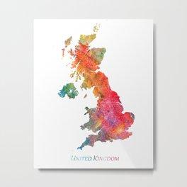 United Kingdom Watercolor Map Art by Zouzounio Art Metal Print