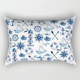 Nautical Watercolor Rectangular Pillow