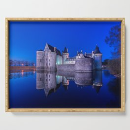 Sully sur Loire at night, Loire valley, France. Serving Tray
