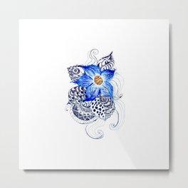 Grunge Blue Acrylic Flowers Metal Print