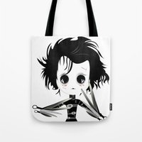edward scissorhands Tote Bags featuring EDWARD SCISSORHANDS by Raimondo Tafuri
