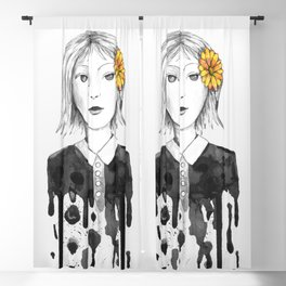 Flower dripping girl Blackout Curtain