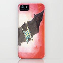 Acrobat Black Bat in Diamond Circus Watercolor iPhone Case