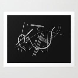 Kandinsky - Black Background Abstract art Art Print