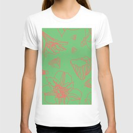 Pink Lily Flower Pattern on Sweet Green T-shirt