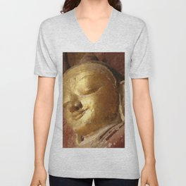 Buddha Head Gold Illustration Unisex V-Neck