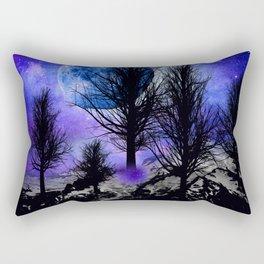 NEBULA STARS MOON BLACK TREES MOUNTAINS VIOLET BLUE Rectangular Pillow