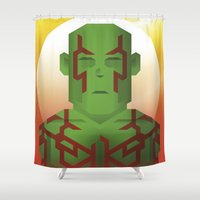 guardians of the galaxy Shower Curtains featuring Guardians of the Galaxy - Drax by Casa del Kables