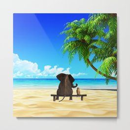 Relaxed elephants at sea Metal Print