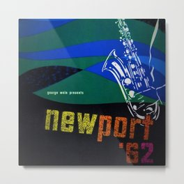 1962 Newport Jazz Festival Vintage Advertisement Poster Newport, Rhode Island Metal Print