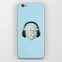 Mind Music Connection /3D render of human brain wearing headphones iPhone Skin
