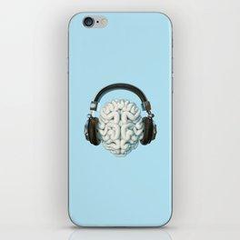 Mind Music Connection /3D render of human brain wearing headphones iPhone Skin