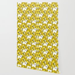 Bichon Frise on Yellow Rose Floral Autumn Gold Wallpaper