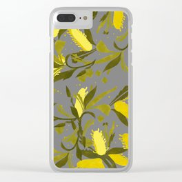 Melaleuca grey & yellow Clear iPhone Case