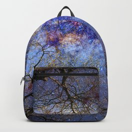 Fantasy stars. Milkyway through the trees. Backpack