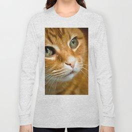 Adorable Ginger Tabby Cat Posing Long Sleeve T-shirt