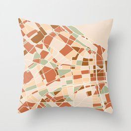 BUENOS AIRES ARGENTINA CITY MAP EARTH TONES Throw Pillow