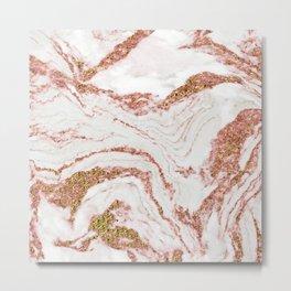 Rose Quartz Marble With Sparkly 24-Karat Gold Veins Metal Print