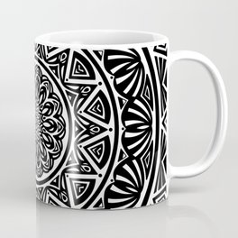 Black and White Simple Simplistic Mandala Design Ethnic Tribal Pattern Coffee Mug