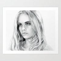 cara delevingne Art Prints featuring Cara Delevingne by sesven