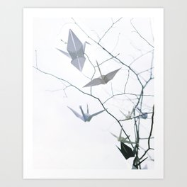 Origami Cranes and Tree Branches Peace Art Print