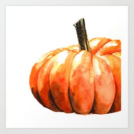 Fall Harvest. Pumpkin. Watercolor painting. Art Print