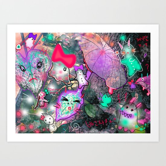 Animal World land  Art Print