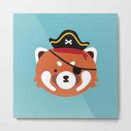 Red Panda in a Pirate Hat Metal Print