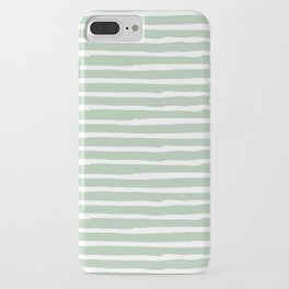 Elegant Stripes Pastel Cactus Green and White iPhone Case
