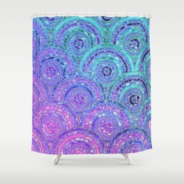 Aqua Blue Purple and Pink Sparkling Glitter Circles Shower Curtain
