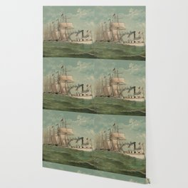 Vintage Fishing Fleet Painting (1882) Wallpaper