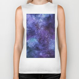 Stardust blue purple watercolor space Biker Tank